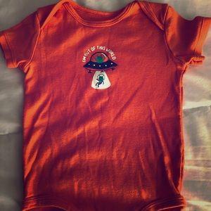 Baby/toddler orange onesie alien ufo